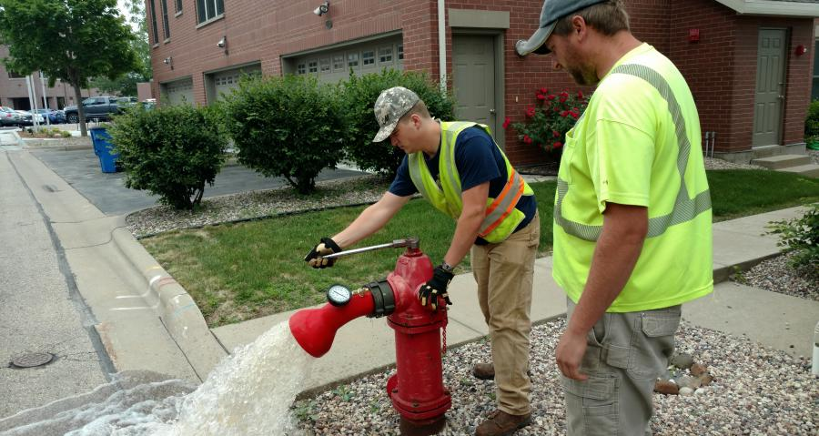 Water Department flushing fire hydrant